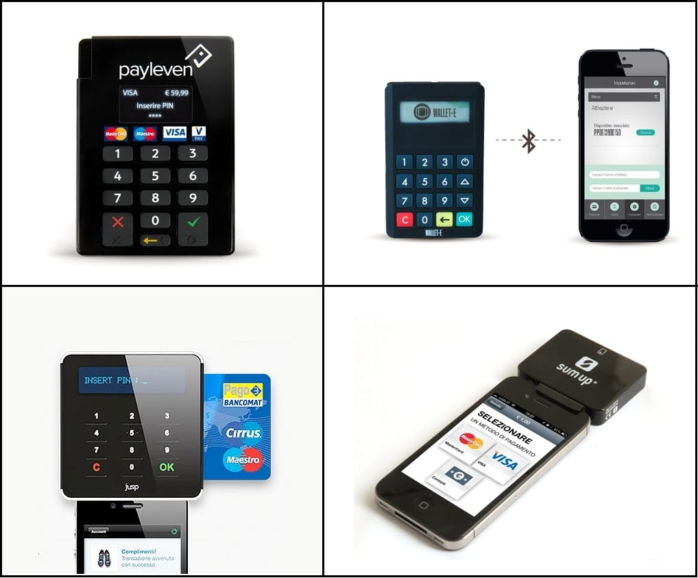 Pos mobile Payleven Jusp Wallet-Aabile e SumUp