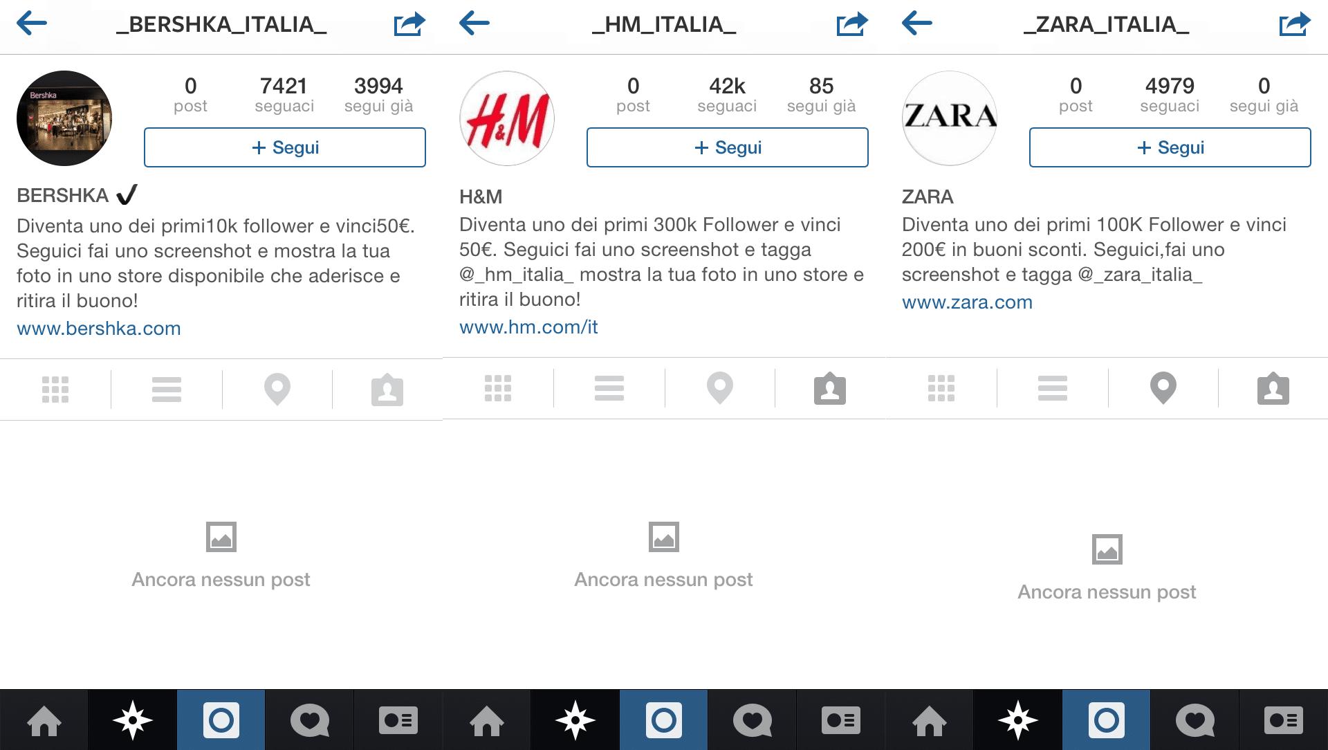 Bufala buoni sconto su Instagram